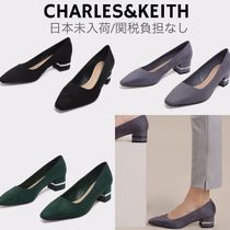 Charles&Keith Square Toe Casual Style Suede Faux Fur Plain Block Heels