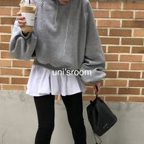 Crew Neck Peplum U-Neck Long Sleeves Plain Cotton T-Shirts