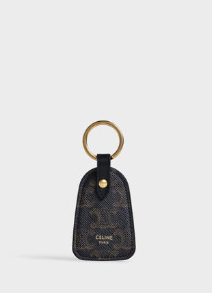 CELINE Triomphe Canvas Key Holder In Triomphe Canvas And Calfskin