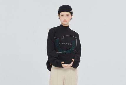 ROMANTIC CROWN Unisex Street Style Long Sleeves Cotton Long Oversized