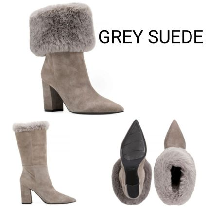 Casual Style Suede Faux Fur Blended Fabrics Plain
