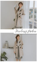 Other Plaid Patterns Casual Style Plain Long Duffle Coats