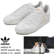 adidas GAZELLE Stripes Rubber Sole Casual Style Street Style Plain Leather