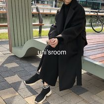 Casual Style Wool Plain Long Handmade Party Style