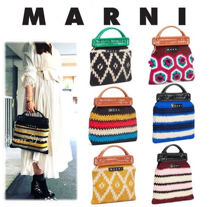 Stripes Flower Patterns Casual Style Blended Fabrics Bags