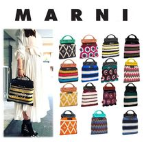 MARNI Stripes Flower Patterns Casual Style Blended Fabrics Bags