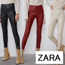 ZARA Casual Style Faux Fur Plain Long