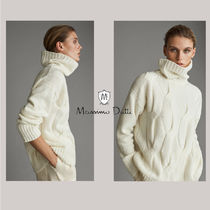Massimo Dutti Cable Knit Casual Style Wool Cashmere Nylon Long Sleeves
