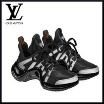 Louis Vuitton Plain Toe Lace-up Casual Style Blended Fabrics Street Style
