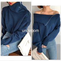 Casual Style Long Sleeves Plain Medium Long Office Style