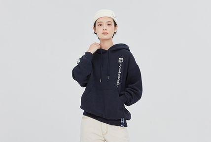 ROMANTIC CROWN Hoodies Pullovers Unisex Street Style Long Sleeves Cotton Oversized 3