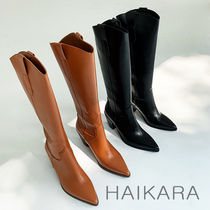 Cowboy Boots Casual Style Plain Block Heels High Heel Boots