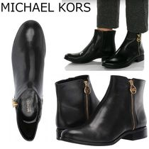 Michael Kors Casual Style Plain Leather Block Heels Ankle & Booties Boots