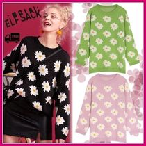 ELF SACK Crew Neck Flower Patterns Casual Style Nylon Street Style