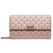 VALENTINO Casual Style Lambskin Studded Leather Party Style
