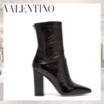 VALENTINO Casual Style Street Style Plain Leather Block Heels
