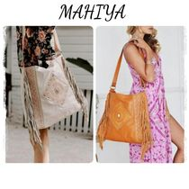 MAHIYA Casual Style Studded A4 Leather Fringes Shoulder Bags