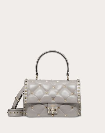 Lambskin Studded Plain Crossbody Logo Handbags