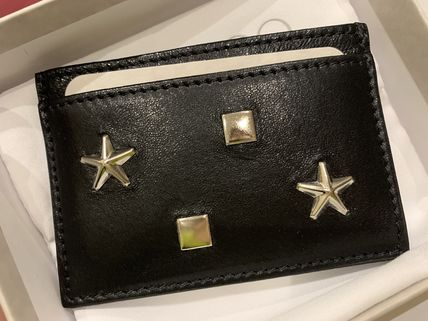 Jimmy Choo Star Unisex Calfskin Studded Leather Logo Card Holders