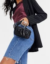 NUNOO Casual Style Chain Plain Leather Shoulder Bags