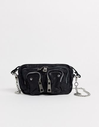 Casual Style Chain Plain Leather Crossbody Shoulder Bags