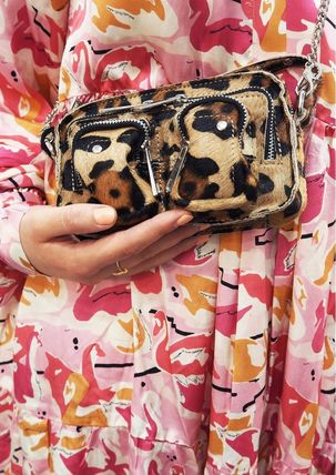 Leopard Patterns Casual Style Fur Leather Crossbody