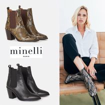 minelli Leather Python Wedge Boots