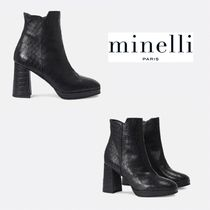 minelli Plain Other Animal Patterns Leather Wedge Boots