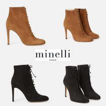 minelli Lace-up Plain Leather Pin Heels Elegant Style Lace-up Boots