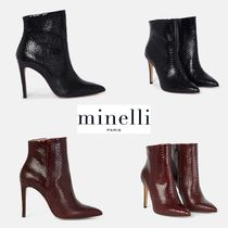 minelli Leather Pin Heels Python Elegant Style Ankle & Booties Boots