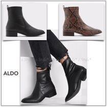 ALDO Round Toe Rubber Sole Casual Style Plain Leather Block Heels