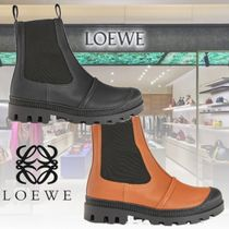 LOEWE Round Toe Casual Style Plain Leather Ankle & Booties Boots