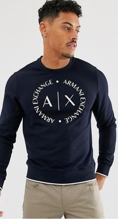 Crew Neck Blended Fabrics Long Sleeves Cotton Logo