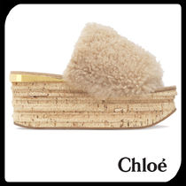 See by Chloe Open Toe Casual Style Plain Leather Platform & Wedge Sandals