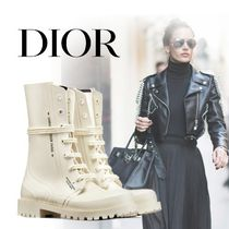Christian Dior Rubber Sole Street Style Plain Logo Military Flat Boots