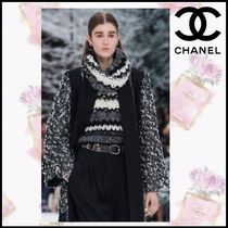 CHANEL Casual Style Cashmere Blended Fabrics Plain Oversized