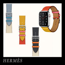 HERMES Unisex Leather Apple Watch Belt Watches