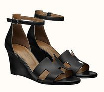 HERMES Open Toe Casual Style Leather Party Style Elegant Style
