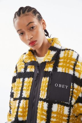Short Other Plaid Patterns Casual Style Faux Fur