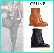 CELINE Plain Leather Chunky Heels Wedge Boots
