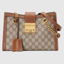 GUCCI Monogram Canvas Blended Fabrics Leather Shoulder Bags