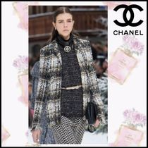 CHANEL Crew Neck Wool Tweed Blended Fabrics Long Sleeves Cotton