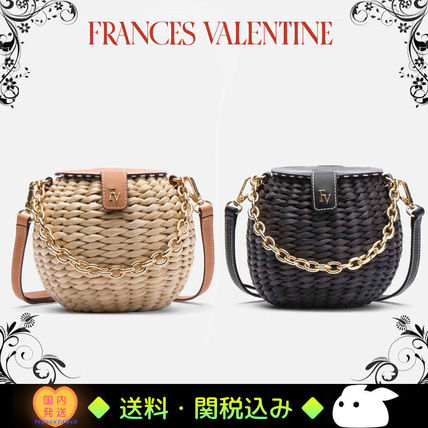 Blended Fabrics Chain Leather Straw Bags