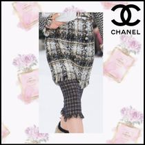 CHANEL Printed Pants Other Check Patterns Tweed Blended Fabrics