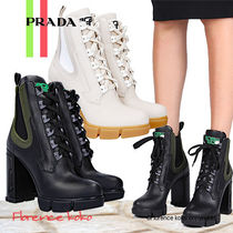 PRADA Round Toe Rubber Sole Lace-up Casual Style Street Style