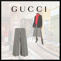 GUCCI Gingham Zigzag Casual Style Wool Cotton Medium