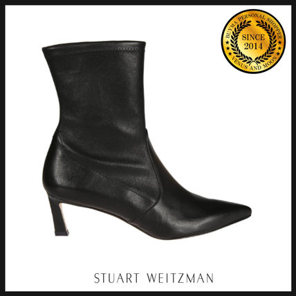 Plain Leather Elegant Style Mid Heel Boots