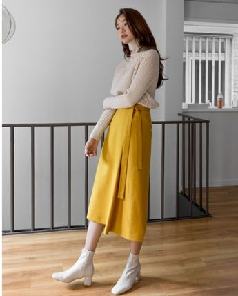 Flared Skirts Casual Style Plain Medium Long Office Style