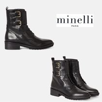 minelli Plain Leather Wedge Boots