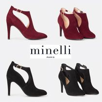 minelli Plain Leather Pin Heels Elegant Style Boots Boots